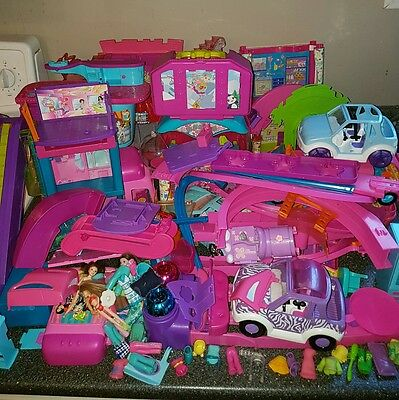 huge lot of polly pocket toys dolls clothes accesories stage car swing