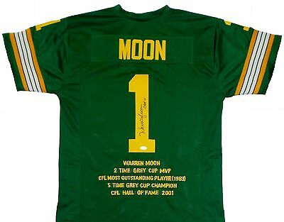 Warren Moon Signed Autographed Green Jersey JSA Authenticated.
