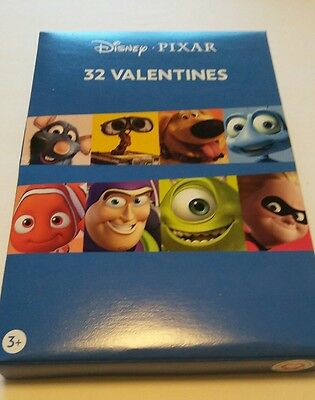 Disney Pixar Valentine 32 Cards W/8 Designs