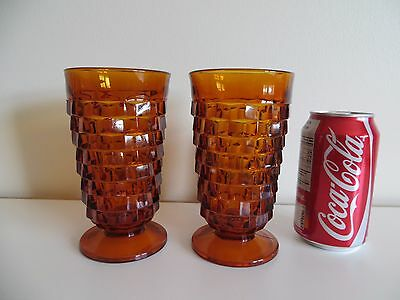 2 Vintage Amber Drink Glasses Indiana Whitehall Colony Cube Footed Large 14 oz.