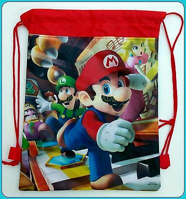 new Super Mario Games Library boys Swimming Beach kids children drawstring Bag