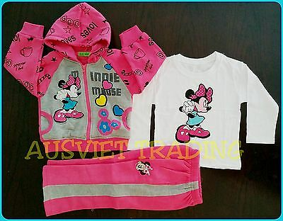 Brandnew Minnie Mouse 3pc TrackSuit Hoodie Jacket top tshirt track pants