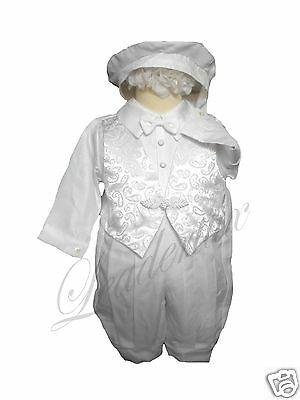 New Infant Boy & Toddler Church Baptism Romper Outfits White Size: New Born-30M