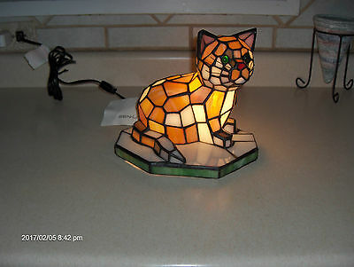 Stained Glass Tiffany Cat Lamp
