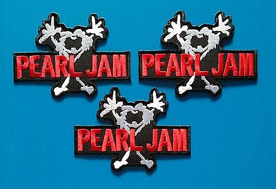 3 LOT PEARL JAM MEMORABILIA Embrodered Iron Or Sewn On Patches Free Ship