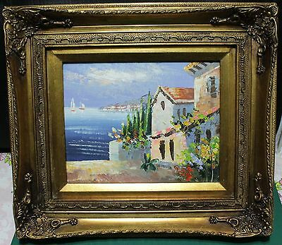 Heavy Gold Framed Oil Painting On Canvas - Seaside White Stucco Village