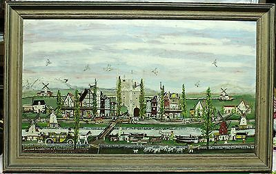 "Framed Oil Painting On Board - Folk Art Style ""Holland"" - Leonard Churcher"