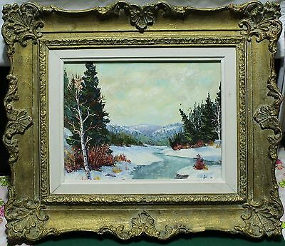 Heavy Gesso Framed Oil Painting On Board - Winter River Landscape - Signed