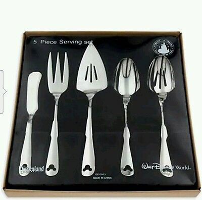 Disney Parks Mickey Mouse Icon Flatware 5 pc piece Serving Set NEW