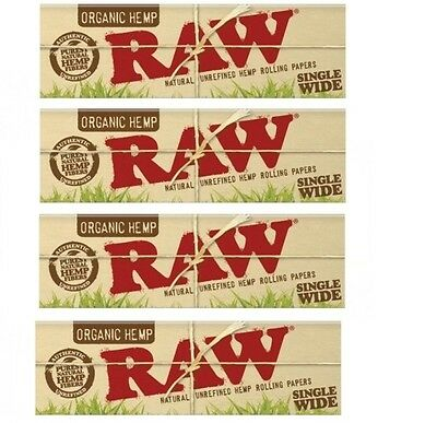 RAW NATURAL ROLLING PAPER ORGANIC HEMP Single Wide 1.0 SIZE - 4 PACKS