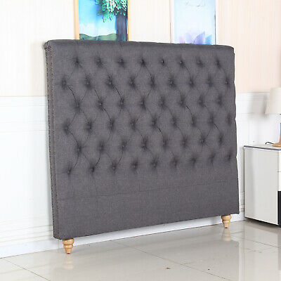 Bed Head Queen Padded Upholstered Fabric Button Studded Charcoal Headboard Sean