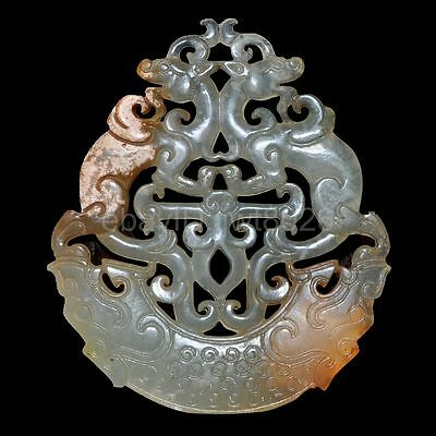 Ancient Chinese antique jade hand carved statue of pendant necklace ~ dragon