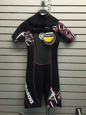 2864232536 Sea Doo Ladies Vibe Shorty Wet Suit Size 6 Black Pink 2864232536