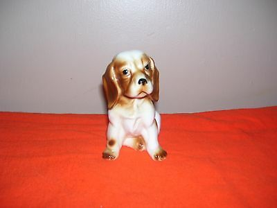 Vintage Beagle Puppy Dog Figurine White With Brown Ears, Tail And Brown Spots