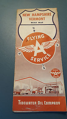 1962 Vintage Flying A New Hampshire Vermons Road Map Tidewater Oil