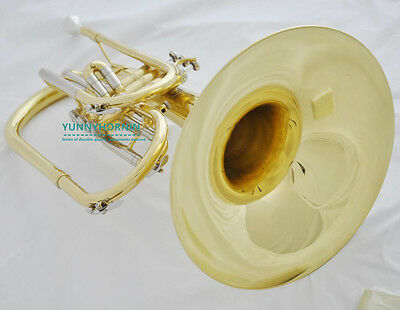 2017 Prof Gold Marching Band Mellophone Nickel F Brand New + Case & Mouthpiece