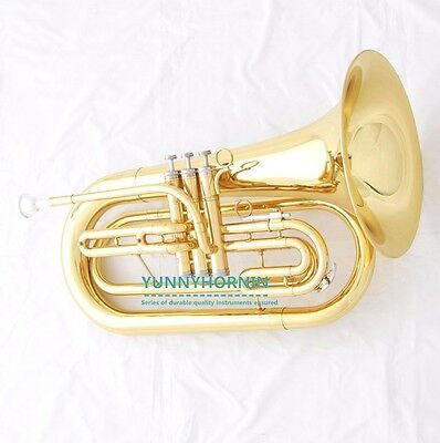 ☆☆☆☆☆ Marching Band Baritone Gold Bb Tuba HORN Brand New + Case & Mouthpiece