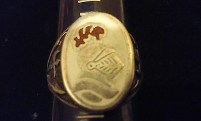 GORGEOUS!! MENS VINTAGE STERLING SILVER w/ ENAMEL CAMEO ROMAN SOLDIER RING 14