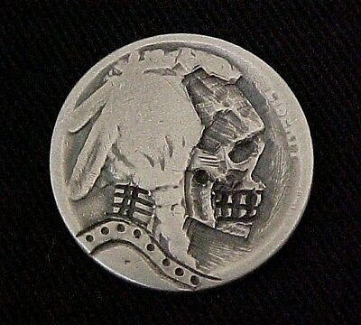 SCARY SKULL ZOMBIE Hand Carved Detailed Hobo Nickel Folk Art Coin OHNS 1304