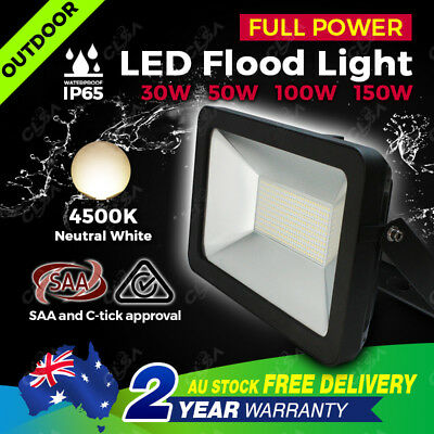 30W/50W/100W/150W LED Outdoor Flood Light Neutral White Security Landscape Lamp