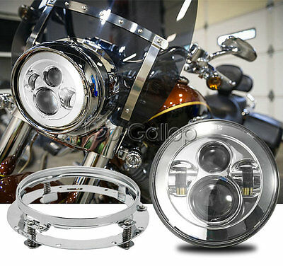 """7"""" LED Chrome Projector Daymaker Headlight +Mounting Ring Fit Harley Touring DOT"""