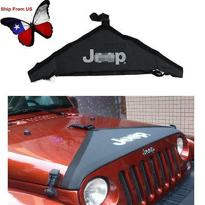 Black Front Hood Protective Bra Cover with Jeep Logo For 2007-2016 Jeep Wrangler