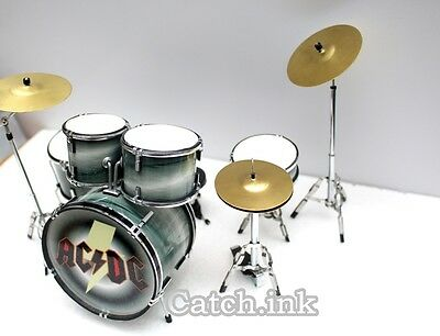 Phil Rudd Ac/dc Drum Set Drum Kit Miniature Replica For Display Only