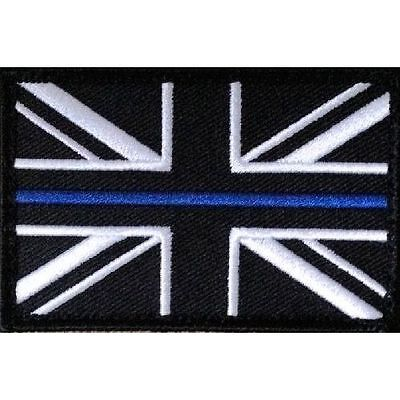 Thin Blue Line Police Large Union Jack Hook Loop Backed Badge Patch 75mm x 50mm