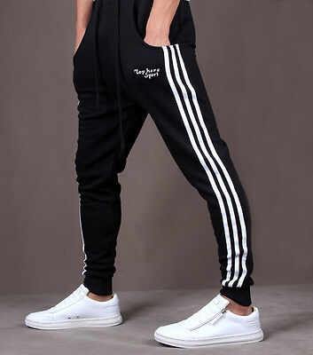 New Mens Gym Slim Fit Trousers Tracksuit Bottoms Skinny Joggers Sweat Pants Hot