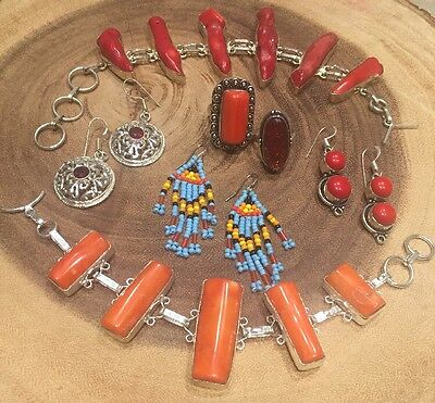 Lot x7 Sterling Silver 925 Inlay Earrings Rings Coral Ruby Dichroic Glass Peyote