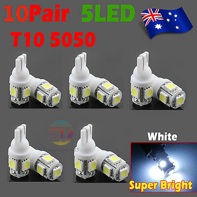 20x T10 LED 5SMD 5050 White 194 168 Car Light Lamp 12V Wedge Tail Side Auto Bulb