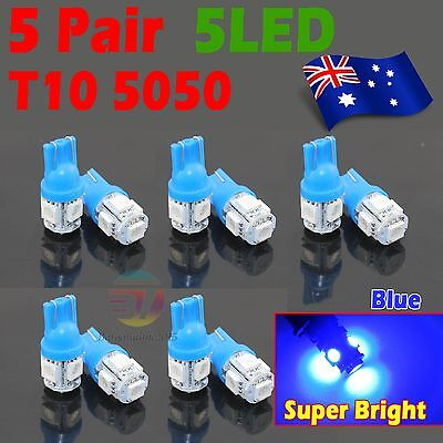 10x Blue T10 LED 5SMD 5050 194 168 Car Light Lamp 12V Wedge Tail Side Auto Bulb