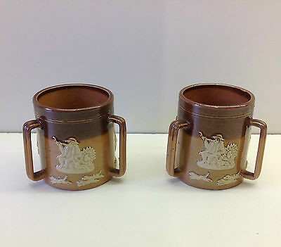 Royal Doulton Stoneware Pair of Three Handled Tygs .