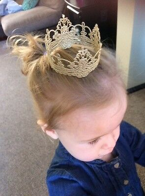 Gold, Silver Lace Crown Baby Photo Shoot Cake Smash Prop Cake Topper SMALL