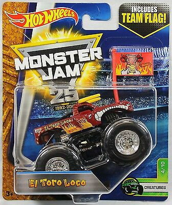 Hot Wheels Monster Jam 1:64 Scale Truck with Team Flag - El Toro Loco. Shipping