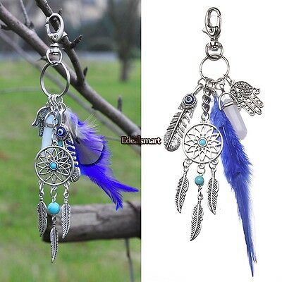 Turquoise  Dream Catcher Feather Pendant Key Chain Keyring Ring Keychain Gift