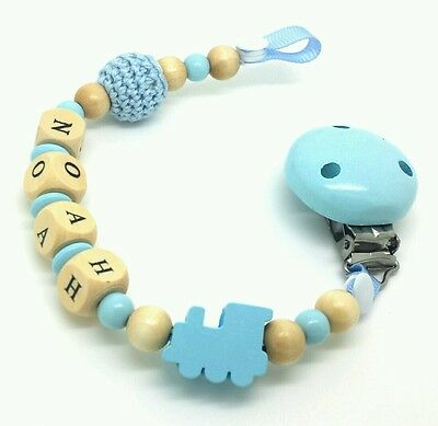 Personalised  baby boy wooden toy or dummy Clip / Baby gift
