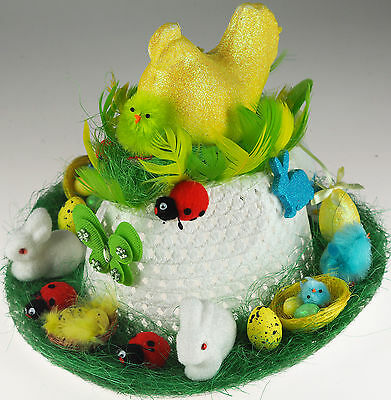 Unisex Girls Boys Ready Made Decorated Easter Bonnet Hat - Yellow Hen