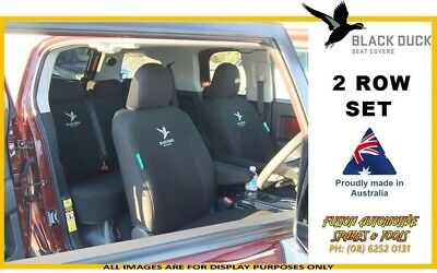 Black Duck Canvas Seat Covers for Hilux SR5 Dual Cab Full Set 8/09 - 06/15