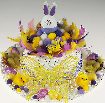 Girls Ready Made Decorated Easter Bonnet Hat -  Lemon Lilac Butterfly / Bunny