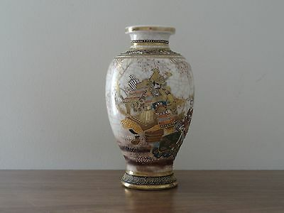 c.19th - Antique Vintage Japanese Meiji Satsuma Hand Painted Porcelain Vase Mark