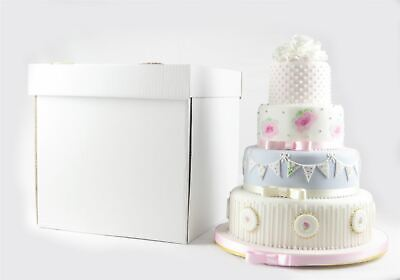 "Reusable Stacked Wedding Cake Boxes Extra Strong 16"" High - Select Size"