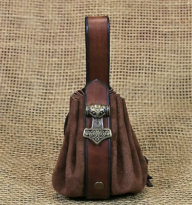 Pouch Coins bag Malmer of Thor Leather brown Belt loop Decorative rivet Viking