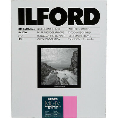 "Ilford Multigrade IV RC Deluxe Resin Coated VC Black & White- 8x10"" - 25 sheets"