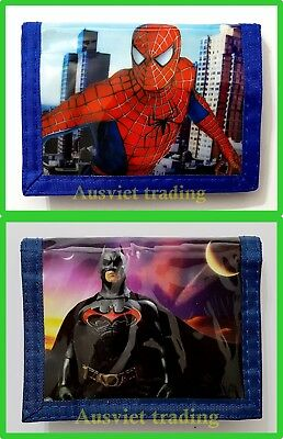New Spiderman Batman Wallet boys kids children super hero cartoon coin purse