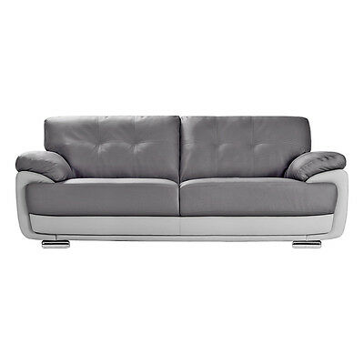 MANSFIELD Slate Grey Leather Sofas 3 + 2 Seaters + Armchairs + 1 Year Guarantee