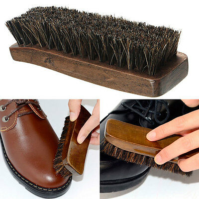 Practical Horse Hair Professional Shoes Shine Boot Polish Buffing Brush Wooden