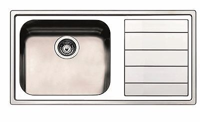 Clearwater Linear 1.0 Large Bowl Left Hand Drainer Kitchen Sink  Inc Waste Kit