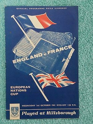 1962 - ENGLAND v FRANCE PROGRAMME - EUROPEAN NATIONS CUP
