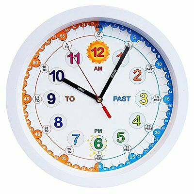 Aniclock Time Teacher clock Children Wall Clock, Easy to Read clock with Silent